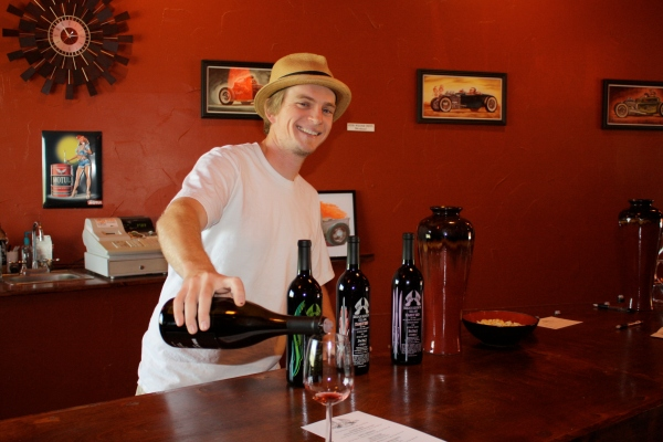 Winemaker Brian Benson pouring wine for us in his tasting room...
