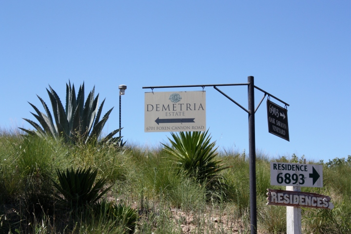A sign leading the way along the drive up to Demetria