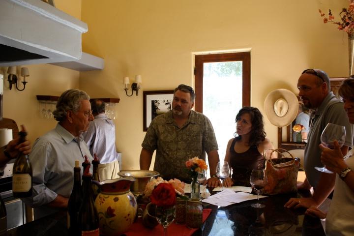 Visitors enjoying wine at the Demetria tasting room...