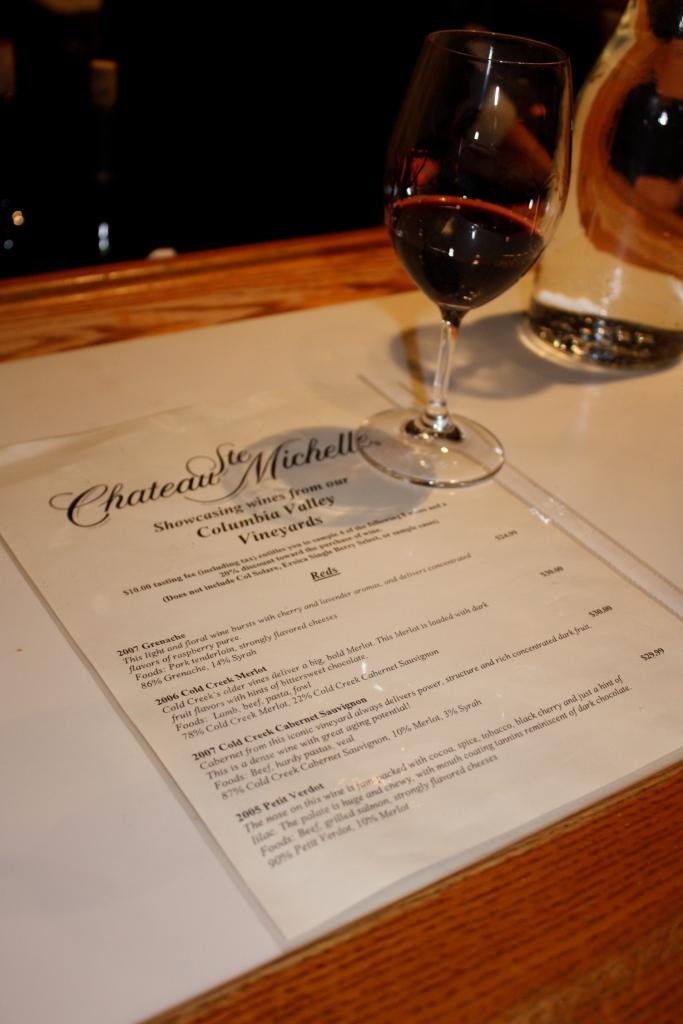 Chateau Ste. Michelle tasting menu