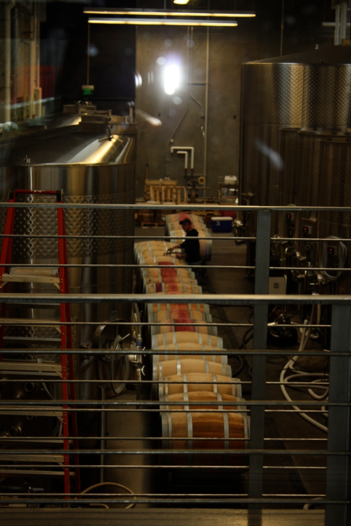 Filling barrels in the open cellar at Novelty Hill/Januik