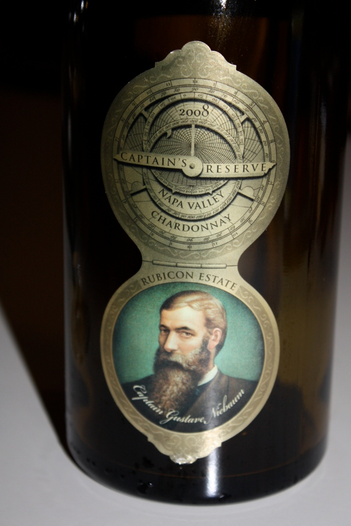 Rubicon Estate's 2008 Captain's Reserve Chardonnay featuring Captain Niebaum on the label