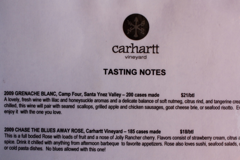 Tasting notes from the Carhartt Vineyard menu