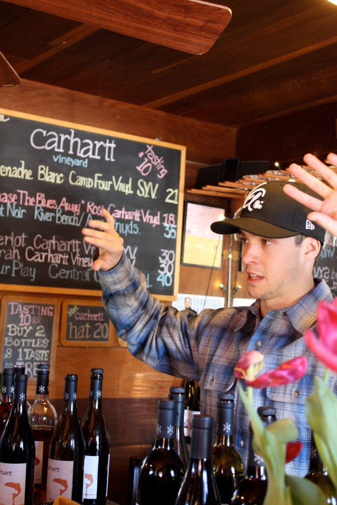 Chase Carhartt explaining the wines his family hand-crafts