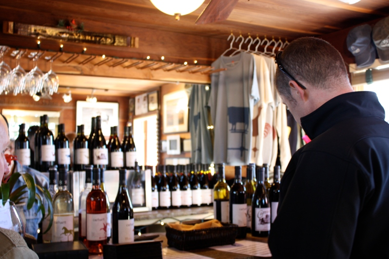 Inside the cozy little Carhartt Vineyard tasting room