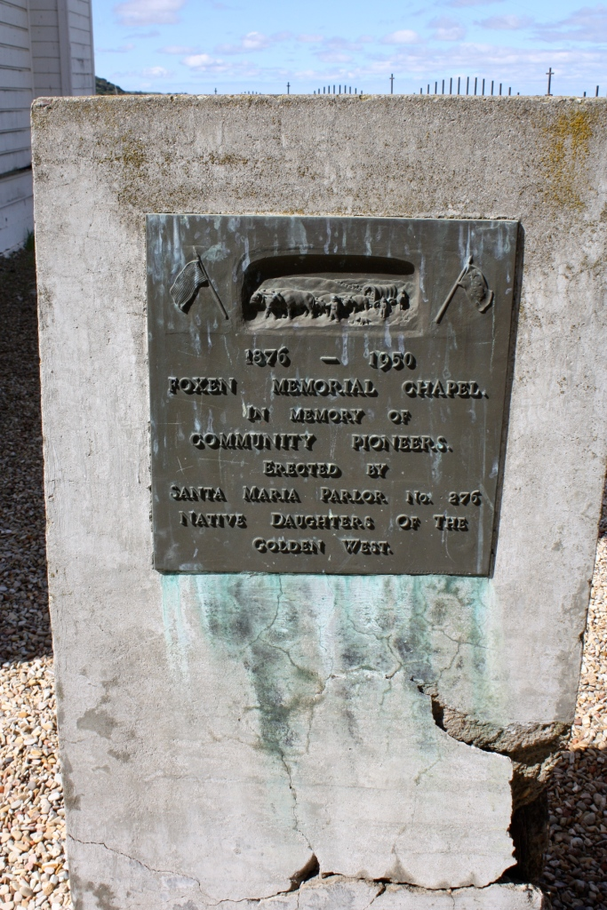 Another weathered plaque outside of San Ramon Chapel