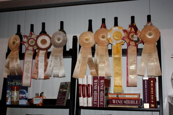 Well-deserved awards displayed at Chumeia Vineyards