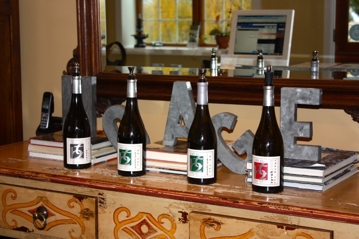 "The Current Tasting Flight: '08 ""The Pick"" Grenache Cuvee, '07 ""The 46"" Grenache-Syrah, '09 ""The 46"" Grenache-Syrah, and '09 ""The Hedge"" Syrah"