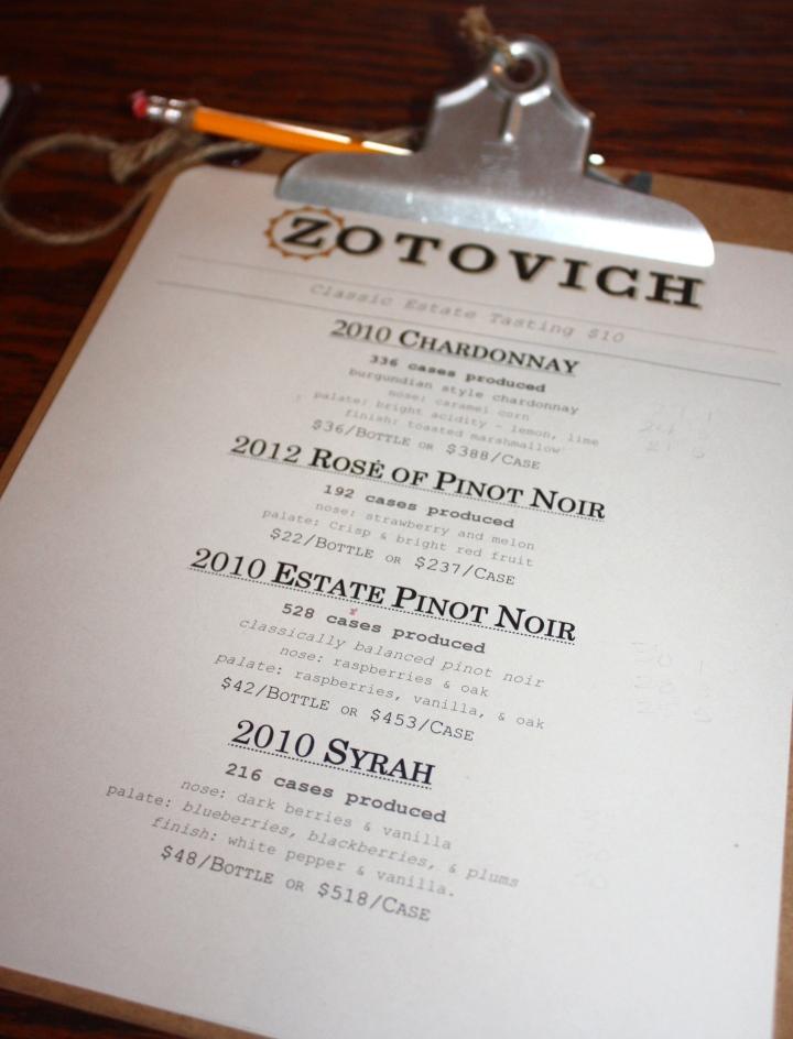 Tasting menu at Zotovich Cellars