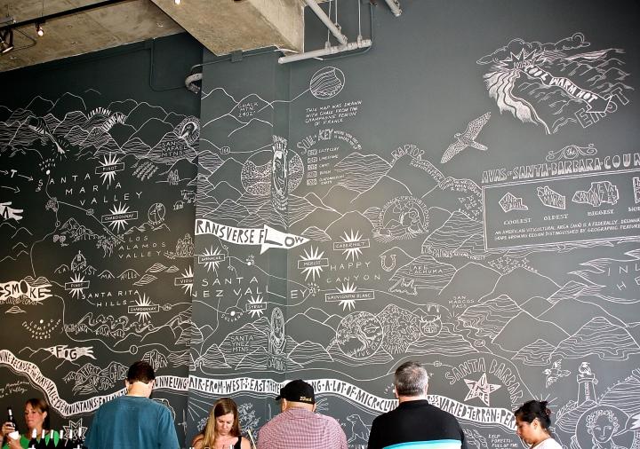 Incredible wall mural in AVA Santa Barbara by artist Elkpen