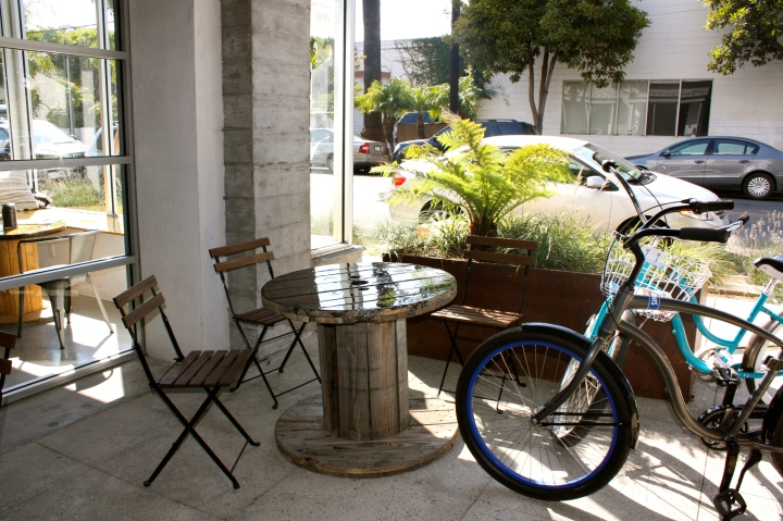 Outdoor patio at AVA Santa Barbara