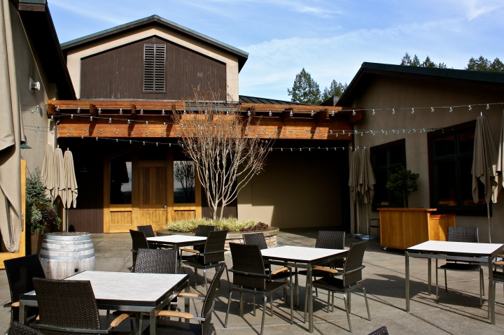 The beautiful terrace at Gary Farrell Vineyards & Winery