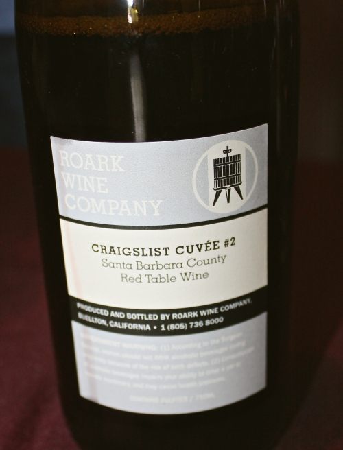 "Roark Wine Company's ""Craigslist Cuvee"" Red Wine Blend"