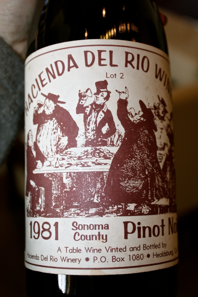 An original bottle of the 1981 vintage of Hacienda De Rio Sonoma County Pinot Noir