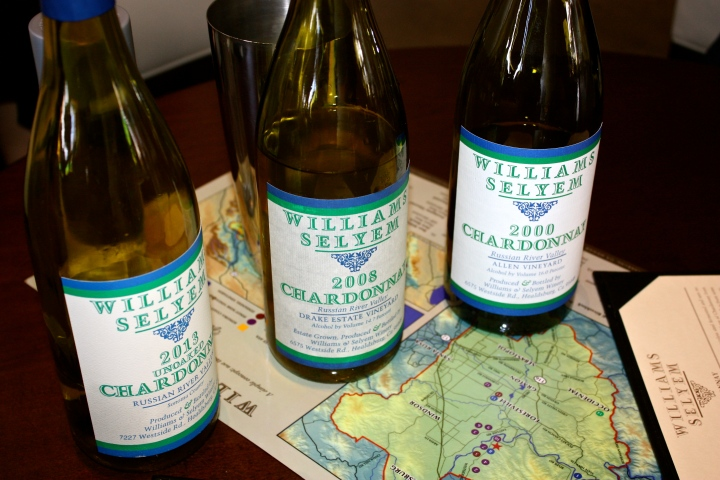 We tasted 3 Williams Selyem Chardonnays, including a very cool