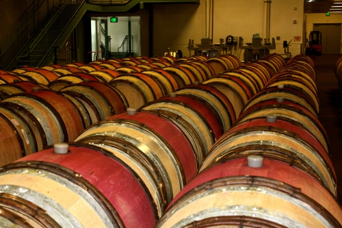 The barrel room at Williams Selyem Winery