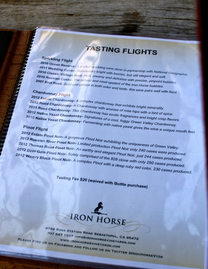 Iron Horse Vineyards tasting flights