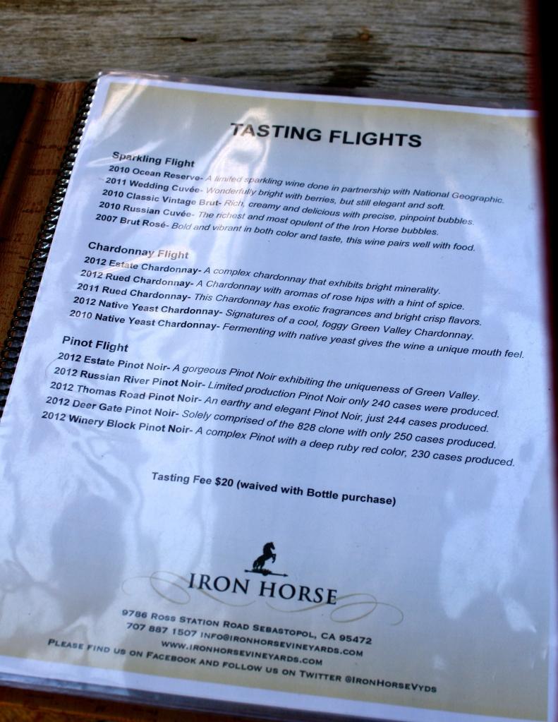 Iron Horse Vineyards tasting flights